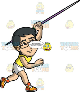 Simon Throwing A Javelin. An Asian man wearing white shorts, a yellow tank top, orange running shoes, and eyeglasses throwing the javelin in his hand