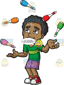 A Happy Black Man Juggling Clubs. A black man wearing purple shorts, a green t-shirt, and red sneakers, smiles as he juggles five different coloured clubs