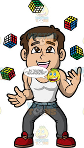 A Man Juggling Rubiks Cubes. A muscular man with brown hair and eyes, wearing gray pants, a white tank top, and red shoes, smiles as he juggles five rubik's cubes