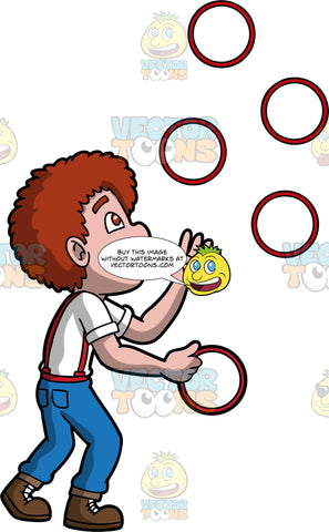 A Man Juggling Rings. A man with reddish brown hair, wearing blue pants, a white shirt, red suspenders, and brown boots, confidently juggles five red rings