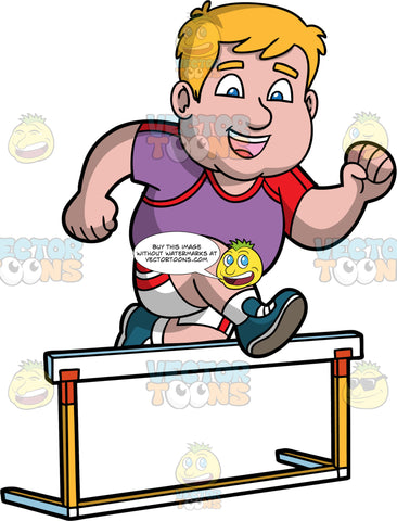 Sam Hurdle Jumping. A chubby man wearing white with red shorts, a purple with red shirt, and blue running shoes, smiles as he jumps over a hurdle