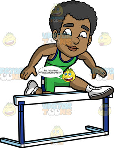 Jimmy Jumping Over A Hurdle During A Race. A black man wearing green with dark blue shorts, a green with dark blue tank top, and white running shoes, jumping over a hurdle