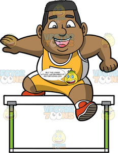James Jumping Over A Hurdle. A chubby black man wearing yellow with white shorts, a yellow with white tank top, and orange running shoes, jumps over a hurdle during a competition