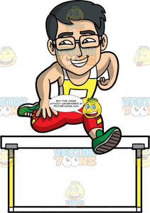 Simon Jumping Over A Hurdle. An Asian man wearing red pants, a yellow and white tank top, green running shoes, and eyeglasses, smiles as he leaps over a hurdle