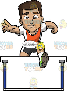 Gabriel Hurdle Jumping. A Hispanic man wearing dark gray with white shorts, an orange and white shirt, and green running shoes, jumping over a hurdle