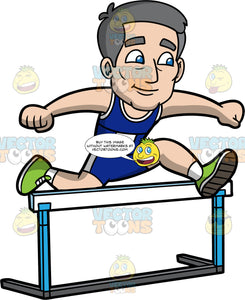 Bob Jumping Over A Hurdle. A mature man wearing dark blue shorts, a dark blue tank top, and green running shoes, leaping over a hurdle during a race