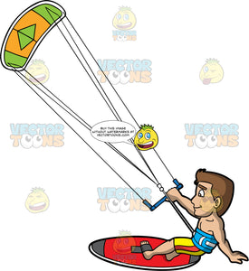 A Cool Guy Gliding Across The Water On His Kiteboard. A man with brown hair and eys, holds onto a bar attached to a green and yellow power kite as he his propelled across the water on a red kiteboard