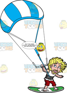 A Blonde Man Trying Out Kiteboarding For The First Time. A man with curly blonde hair, wearing red shorts and a white shirt, hangs onto a bar attached to a blue and white power kite as he is pulled along on a green kiteboard