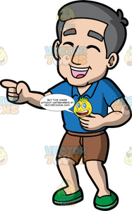 Bob Pointing And Laughing At Something. A mature man wearing a blue shirt, brown shorts, and green shoes, standing with one hand on his belly, the other hand pointing, his eyes closed and mouth open while laughing at something