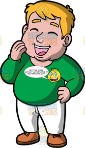 Sam Laughing At Something Funny. A chubby man wearing white pants, a long sleeve green shirt, and brown shoes, standing with his eyes closed and mouth open while laughing