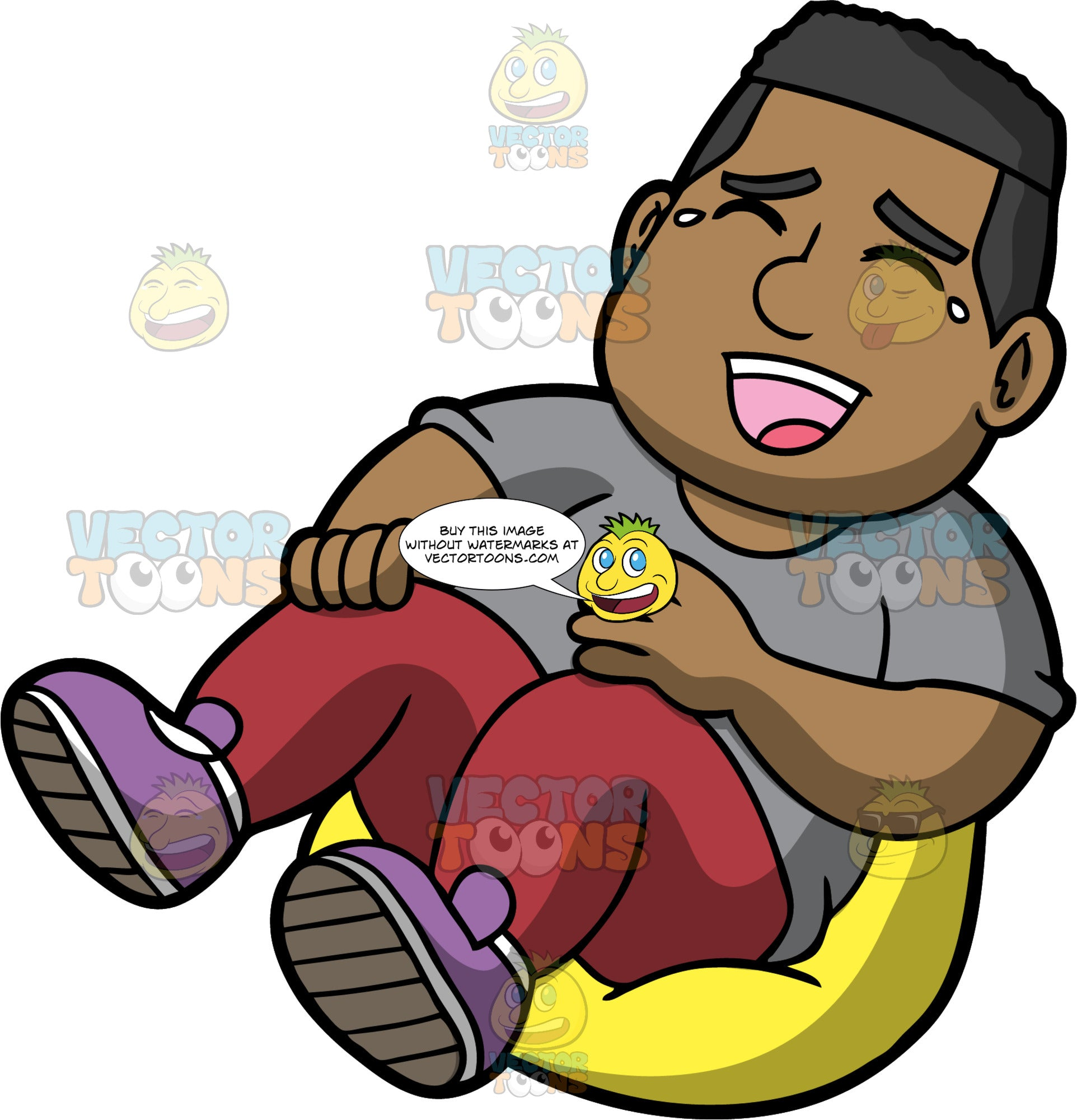 James Laughing Hysterically. A black man wearing burgundy pants, a gray t-shirt, and purple shoes, sitting on a yellow bean bag chair with his eyes closed and mouth wide open as he laughs uncontrollably at something