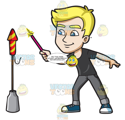 A Man Trying To Light A Skyrocket Firecracker Using A Sparkler