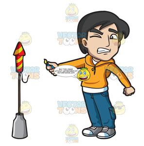 A Scared Man Trying To Light A Rocket Firecracker