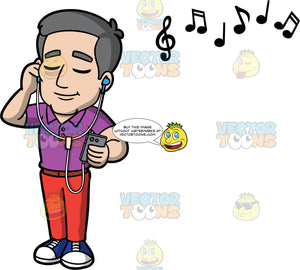 Bob Closing His Eyes While Listening To Music. A mature man wearing red pants, a purple shirt, and blue shoes, closing his eyes and listening to music on headphones connected to his cell phone