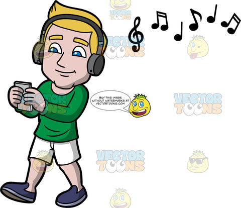 Matthew Going For A Walk And Listening To Music. A man wearing white shorts, a long sleeve green shirt, and purple shoes, walking while listening to music on his blue tooth headphones