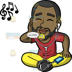 Calvin Sitting Down And Listening To Music. A black man with a beard wearing yellow pants, a red shirt, and black sneakers, sitting on the floor with his eyes closed listening to music on headphones connected to his cell phone