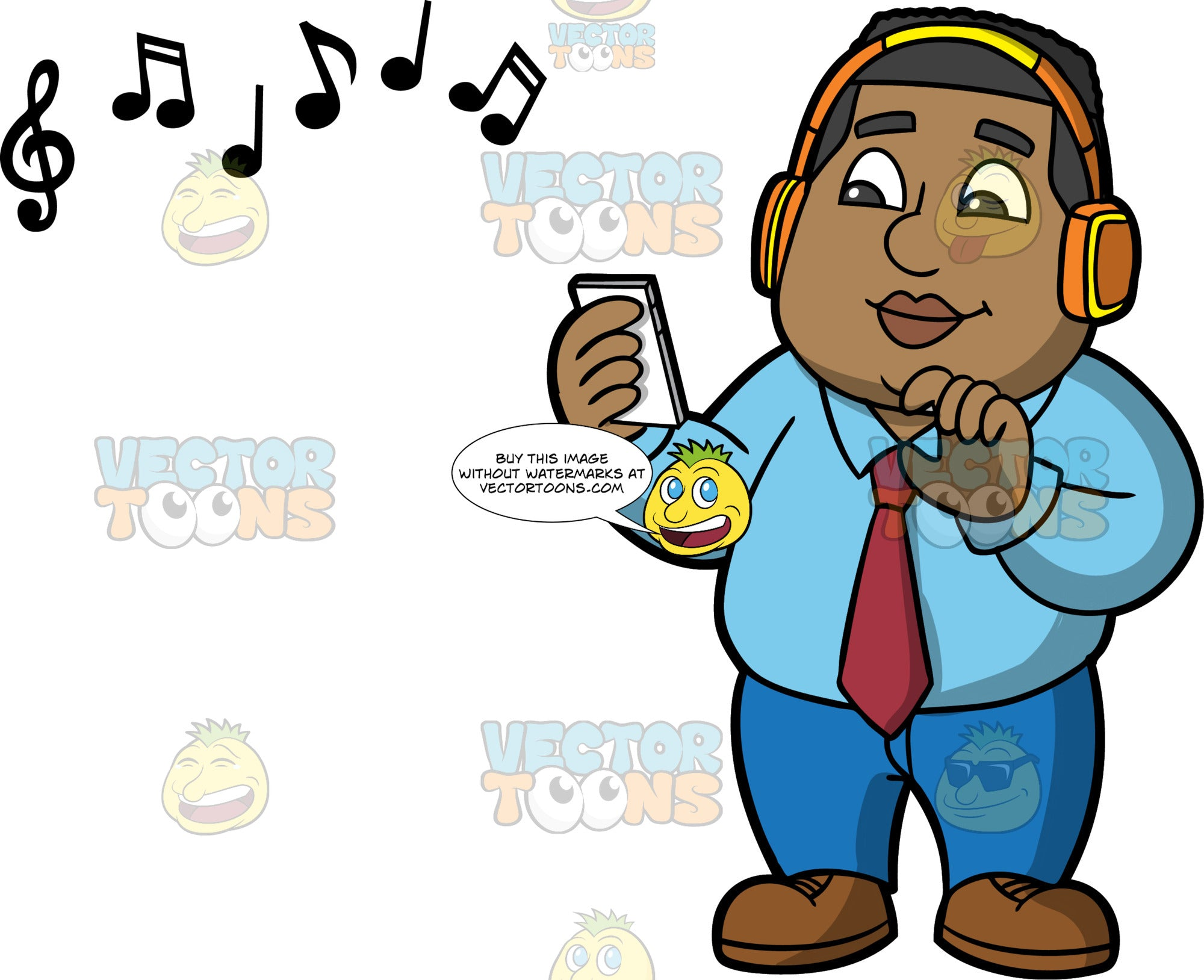 James Taking A Break To Listen To Some Music. A black man wearing blue pants, a blue shirt, red tie, and brown shoes, holding a cell phone in his hand, and listening to music on over the ear blue tooth headphones