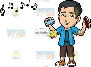 Kevin Using A Portable Speaker To Listen To Music. An Asian man wearing brown short, a blue shirt over a tank top, and orange sneakers, holding a cell phone in one hand and a small blue tooth speaker in the other while he listens to music