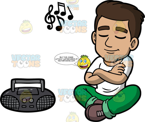 Gabriel Listening To Music On The Radio. A Hispanic man wearing green pants, a white t-shirt, and brown shoes, sitting on the floor with his arms crossed and eyes closed, listening to some music playing on the radio