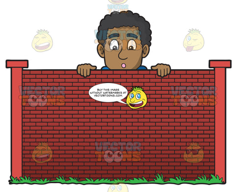 A Curious Black Man Looking Over A Wall