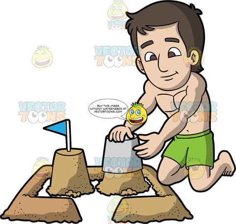 A Man Creating A Sandcastle. A man with brown hair and eyes, wearing a green bathing suit and no shirt, kneeling in the sand emptying a bucket of sand to start a sandcastle