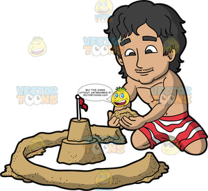 A Man Building A Moat Wall Around His Small Sandcastle. A man with black hair and dark brown eyes, wearing red and white striped swim trunks and no shirt, kneeling in the sand and placing sand in a circle around his sandcastle to create a moat wall