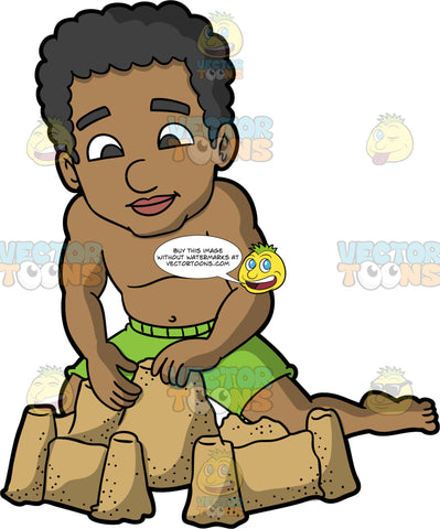 A Black Man Having Fun Building A Sandcastle. A black man wearing green swim trunks and no shirt, kneeling in the sand and sculpting the sandcastle he has built