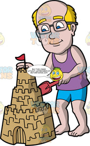 A Balding Man Putting The Finishing Touches On His Sandcastle. A balding man with blue eyes, wearing eye glasses, blue shorts and a purple tank top, standing up and patting down the tall sandcastle he built
