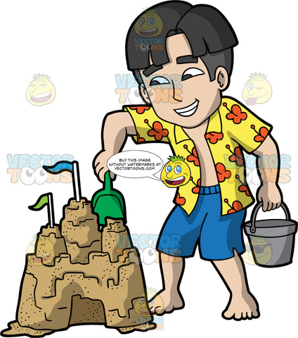 A Man Adding Some Sand To His Sandcastle. A man with black hair and dark brown eyes, wearing blue shorts and a yellow Hawaiian style shirt with red flowers, standing up and holding a bucket in one hand, while placing some sand on his sandcastle with the small shovel in his other hand