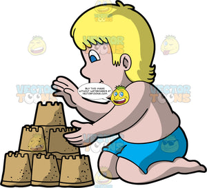 A Blonde Man Making A Three Tiered Sandcastle. A chubby man with blonde hair and blue eyes, wearing blue swim trunks and no shirt, kneeling in the sand and building a three tiered sandcastle