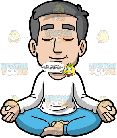 Bob Quietly Meditating. A mature man with gray hair, wearing blue pants, and a long sleeve white shirt, sitting on the floor with his legs crossed, eyes closed, and the backs of his hands resting on his knees