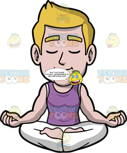 Matthew Sitting And Meditating. A man with dark blonde hair, wearing white pants, and a purple tank top, sitting on the floor in lotus pose, with his eyes closed and the backs of his hands resting on his knees