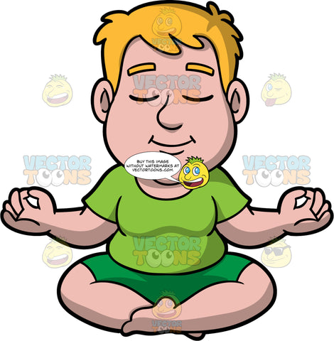 Sam Enjoying Some Quiet Meditation. A man with dark blonde hair, wearing green shorts, and a green shirt, sitting on the floor with his legs crossed, eyes closed, and arms slightly raised with his index fingers and thumbs touching
