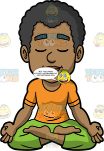 Jimmy Sitting Still And Meditating. A black man wearing comfortable green pants, and an orange t-shirt, sitting on the floor with his eyes closed in lotus pose, the back of his hands resting on his knees and his index finger and thumb touching, as he quietly meditates