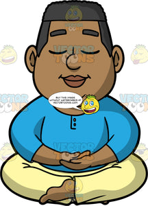 James Sitting On The Floor Meditating. A black man wearing pale yellow pants, and a long sleeve blue shirt, sitting cross legged on the floor, with his eyes closed and his palms resting in his lap