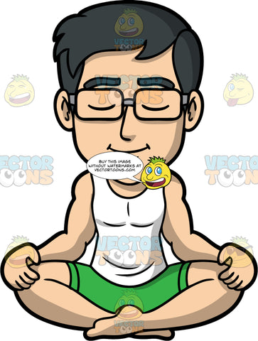 Simon Quietly Meditating. An Asian man wearing green shorts, a white tank top, and eyeglasses, sitting on the floor with his legs crossed, eyes closed, and his palms resting on his knees