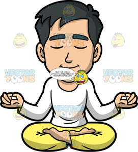 Kevin Sitting In Lotus Pose Meditating. An Asian man with black hair, wearing yellow pants, and a long sleeve white shirt, sitting on the floor in lotus pose, his eyes closed, and his arms slightly raised with his thumbs and index fingers touching