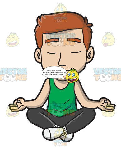A Man Meditating During Yoga Class
