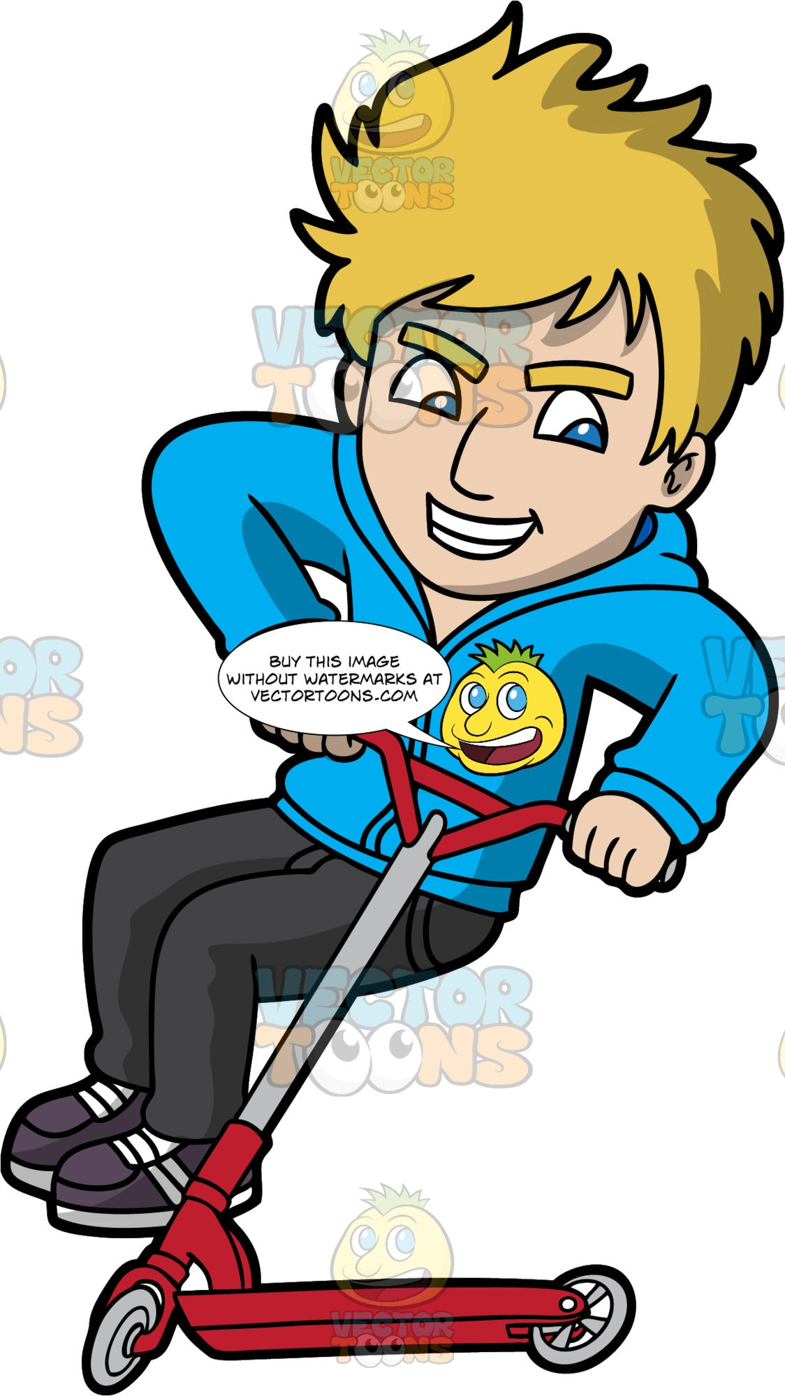 A Cool Man Riding A Scooter. A man with blonde hair, wearing a blue jacket with hood, black pants, dark brown with gray stripes, grins while jumping to ride a red with gray scooter