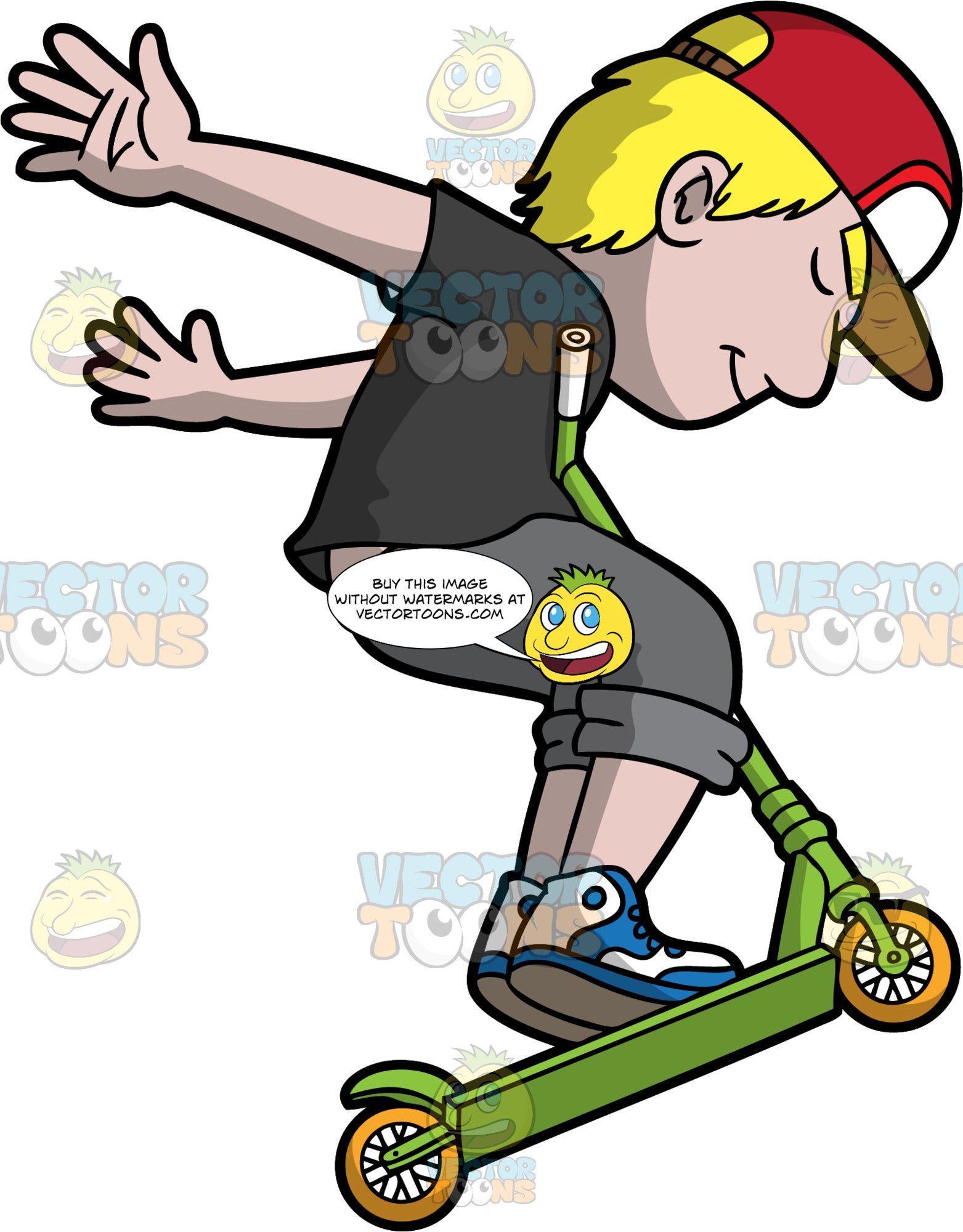 A Carefree Man Riding A Scooter. A man with blonde hair, wearing a red with white cap, black shirt, gray cropped pants, blue and white shoes, shuts his eyes and smiles while swinging his arms back and jumping with his green scooter with yellow wheels