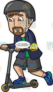 A Man Riding A Scooter To Go Places. A man with brown hair, mustache and beard, wearing a green shirt, dark blue unbuttoned shirt, gray shorts, two tone blue shoes, dark gray helmet with white straps, smiles while riding and moving a dark gray scooter with yellow wheels