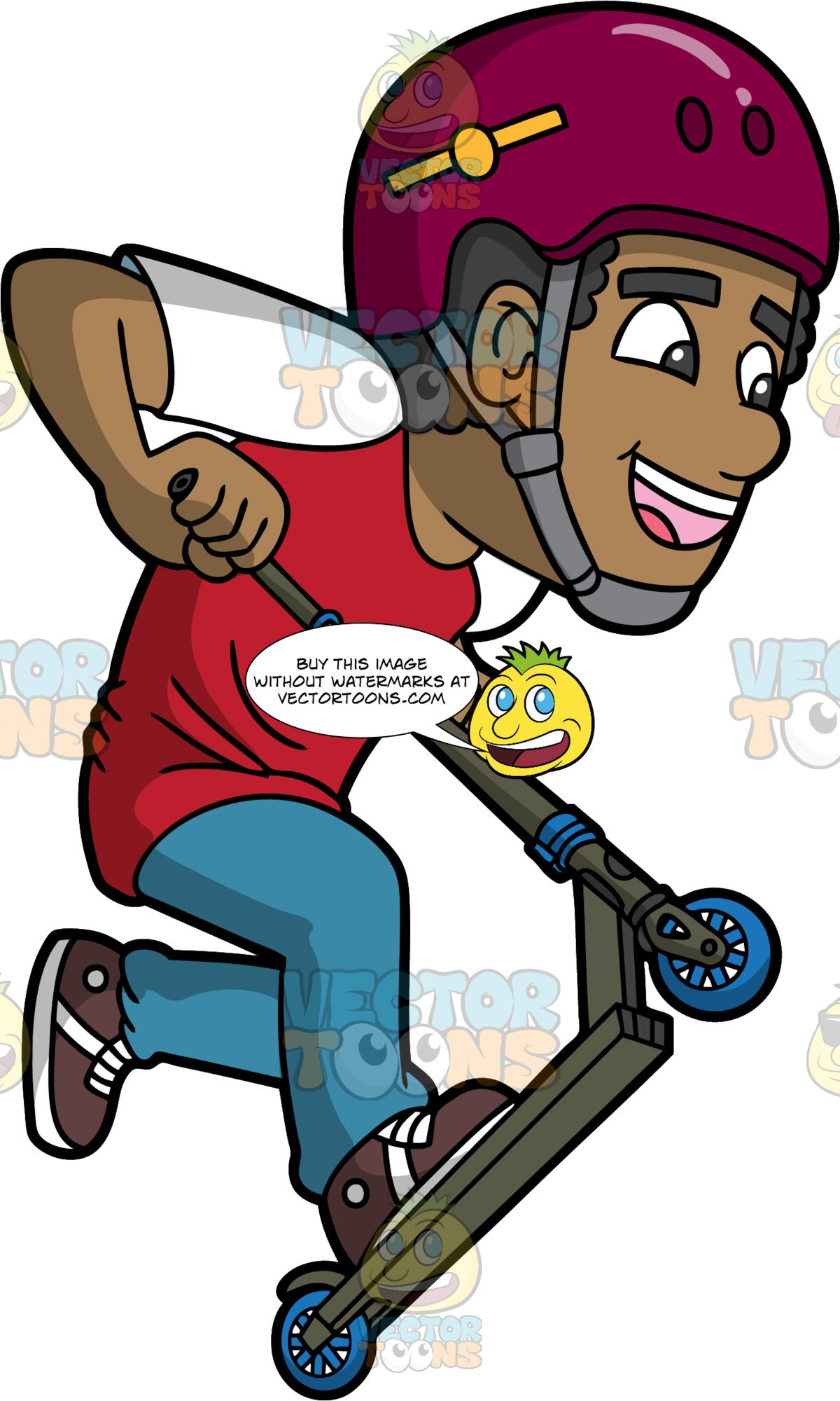 A Happy Black Man Riding A Scooter. A black man with curly hair, wearing a red with white shirt, teal pants, brown with white shoes, fuchsia with yellow helmet and gray strap, smiles in delight while pulling up the dark green scooter with blue wheels that he is riding