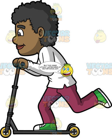 A Black Man Riding A Freestyle Scooter. A black man with curly hair, wearing a white sweatshirt, fuchsia pants, green with white sneakers, smiles while riding and moving a black scooter with yellow wheels