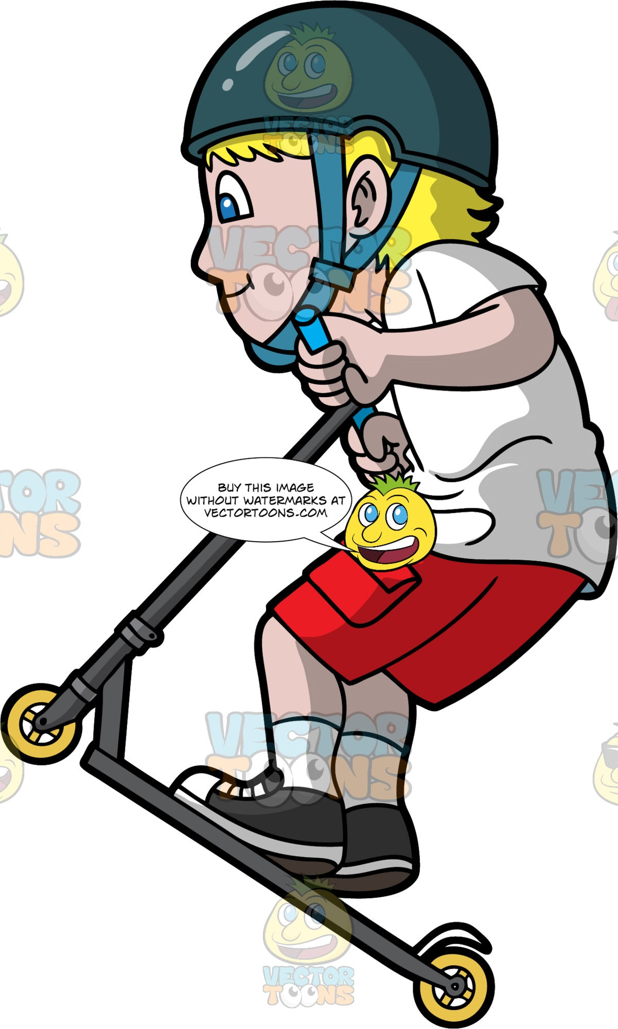 A Man Jumps While Riding A Scooter. A man with blonde hair, wearing a white shirt, red shorts, white socks, black and white shoes, dark teal helmet with chin strap, smirks while jumping with his black scooter that has yellow wheels