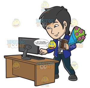 A Man With Flowers And Chocolate For His Online Date