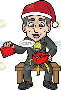 Bob Opening A Christmas Gift. A mature man wearing a gray suit, white shirt, blue tie, dark gray shoes, and a Santa hat, sitting on a bench and smiling as he opens a Christmas Present