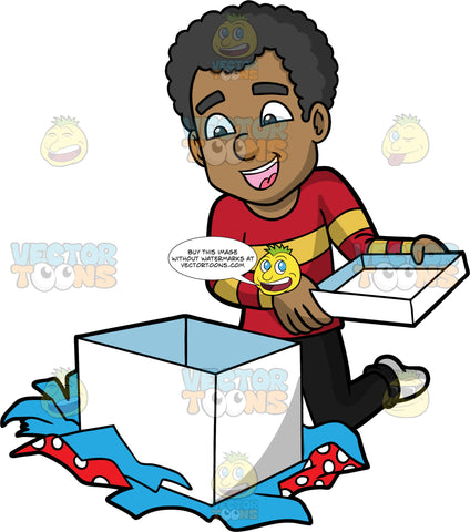 Jimmy Opening A Big White Gift Box. A black man wearing black jeans, a red sweater with yellow strips, and white socks, kneeling on the floor and smiling as he opens a Christmas present