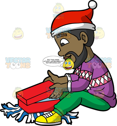 Calvin Sitting On The Floor And Opening A Christmas Gift. A black man wearing green pants, a purple sweater, yellow shoes, and a Santa hat, sitting on the floor and opening a red gift box