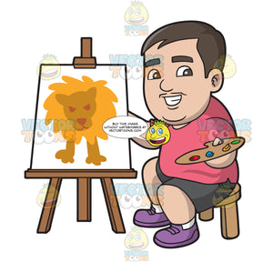 A Chubby Man Presenting A Lion Painting