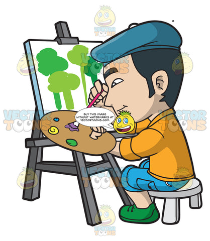 An Asian Guy Painting Trees On Canvas